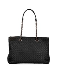 Bottega Veneta Small Double Chain Handle Intrecciato Tote Bag Black Nero