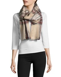 Lord And Taylor Box Plaid Scarf Beige