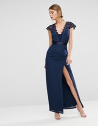 Elise Ryan Scallop Lace Maxi Dress With Thigh Split Navy