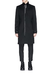 Tim Coppens Leather Kimono Lapel Coat Black