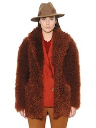 Trussardi Suede And Mongolian Fur Coat