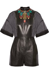 Valentino Embroidered Silk Organza And Leather Playsuit Black