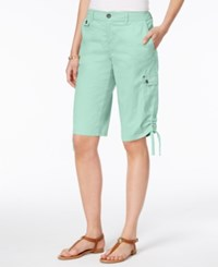 Style And Co Petite Ruched Hem Cargo Bermuda Shorts Only At Macy's Aqua
