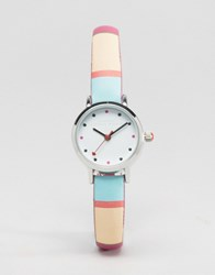 Johnny Loves Rosie Multi Stripe Watch Multi Silver