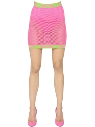 Moschino Cotton Fishnet Mini Skirt Pink Neon Green