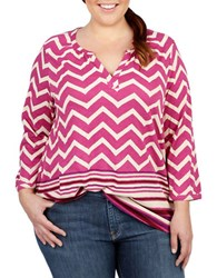 Lucky Brand Plus Plus Plus Chevron Top Red