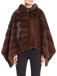 The Fur Salon Cowlneck Diagonal Mink Fur Poncho Brown