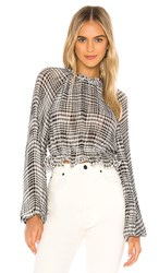 C Meo Collective Stealing Sunshine Blouse In Black. Black Check