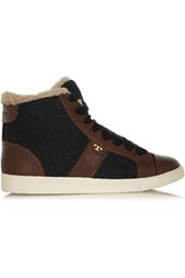 Tory Burch Oliver Shearling Lined Quilted Felt High Top Sneakers Gray