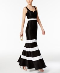Xscape Evenings Taffeta Striped Mermaid Gown Black White