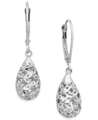 Macy's Cut Out Filigree Dangle Earrings In 10K White Gold