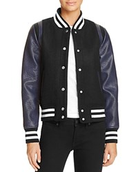 Aqua Faux Leather Varsity Jacket Black Blue