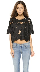 Cynthia Rowley Oversized Floral Lace Tee Black