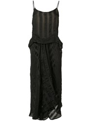 Uma Wang Draped Slip Dress Women Silk Linen Flax Polyamide Viscose S Black