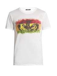 Balmain Wolf Print Crew Neck Cotton T Shirt White Multi