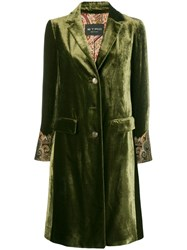 Etro Embroidered Cuff Coat Green