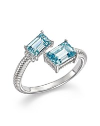 Judith Ripka Sterling Silver Lafayette Bypass Ring With Sky Blue Crystal Blue Silver