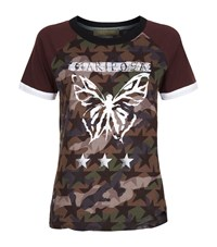 Valentino Butterfly Motif Camo And Star Print T Shirt Female Multi