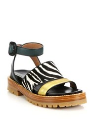Marni Fussbett Zebra Print Calf Hair And Metallic Leather Sandals Multi