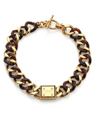 Michael Kors Tortoise Print Plaque Toggle Chain Necklace Gold Tortoise