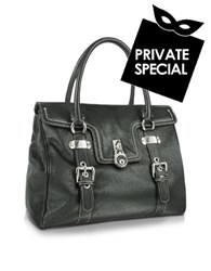 Buti Large Grained Leather Flap Satchel Bag Black