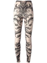 Alexander Mcqueen Baroque Lace Jacquard Leggings Pink And Purple