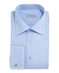 Stefano Ricci Basic French Cuff Solid Dress Shirt Blue