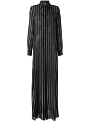 Lanvin Striped Maxi Shirt Dress Women Silk 36 Black