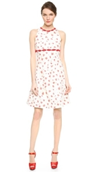 Giambattista Valli Lattice Lip Trim Dress White