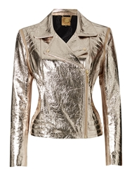 Biba Gold Limited Edition Zip Off Sleeve Leather Biker