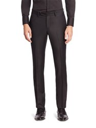 Emporio Armani Flat Front Wool Pants Black