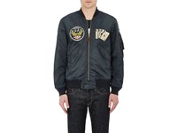 Rrl Men's Benson Washed Tech Fabric Flight Bomber Jacket Blue