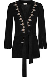 Talitha Fringed Embroidered Suede Kimono Jacket Black