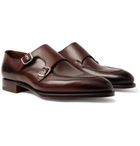 Edward Green Fulham Leather Monk Strap Shoes Dark Brown