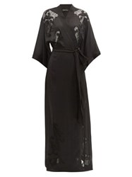 Carine Gilson Lace Embroidered Silk Robe Black