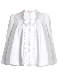 Roksanda Ilincic Frida Ruffle Trimmed Cotton Shirt White