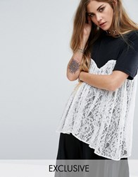 Reclaimed Vintage T Shirt With Lace Overlay Black