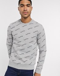Original Penguin All Over Diagonal Script Logo Print Sweatshirt In Grey Marl