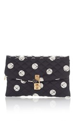 Dolce And Gabbana Polka Dot Quilted Clutch Black