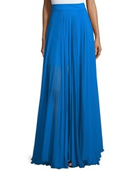 Milly Flowy Silk Maxi Skirt W Front Slit Blue
