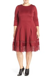 Plus Size Women's Eloquii Lace Insert Fit And Flare Dress