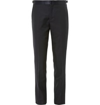 Paul Smith Mayfair Slim Fit Wool Jacquard Tuxedo Trousers Blue