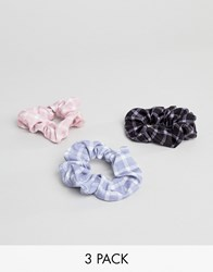 New Look 3 Pack Check Scrunchies Multi Col