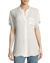 Vince Short Sleeve Silk Popover Top Off White