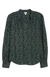 Hinge Ruffle V Neck Blouse Navy Night Travelling Motif