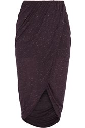 Iris And Ink Aloise Wrap Effect Jersey Midi Skirt Burgundy