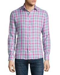 Etro Check Long Sleeve Linen Sport Shirt Pink Gray Lavender Pink Grey Lav