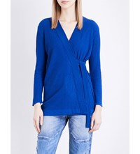 Sandro Wrap Knitted Cardigan Egyptian Blue