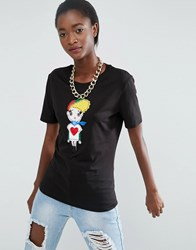Love Moschino Embroidered Fabric Girl T Shirt Black