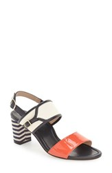 Women's Anyi Lu 'Maria' Sandal Coral Patent Ivory Leather